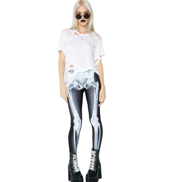 Badinka Blue Glow X-Ray Skeleton Leggings