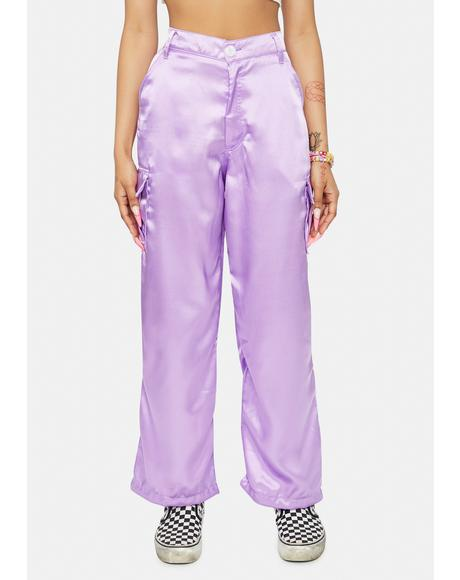 Lavender Spice It Up Satin Cargo Pants