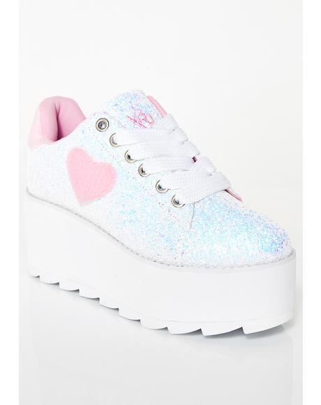 Lala Heart Glitter Platform Sneakers