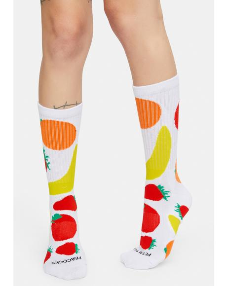 Mixed Fruit White Crew Socks