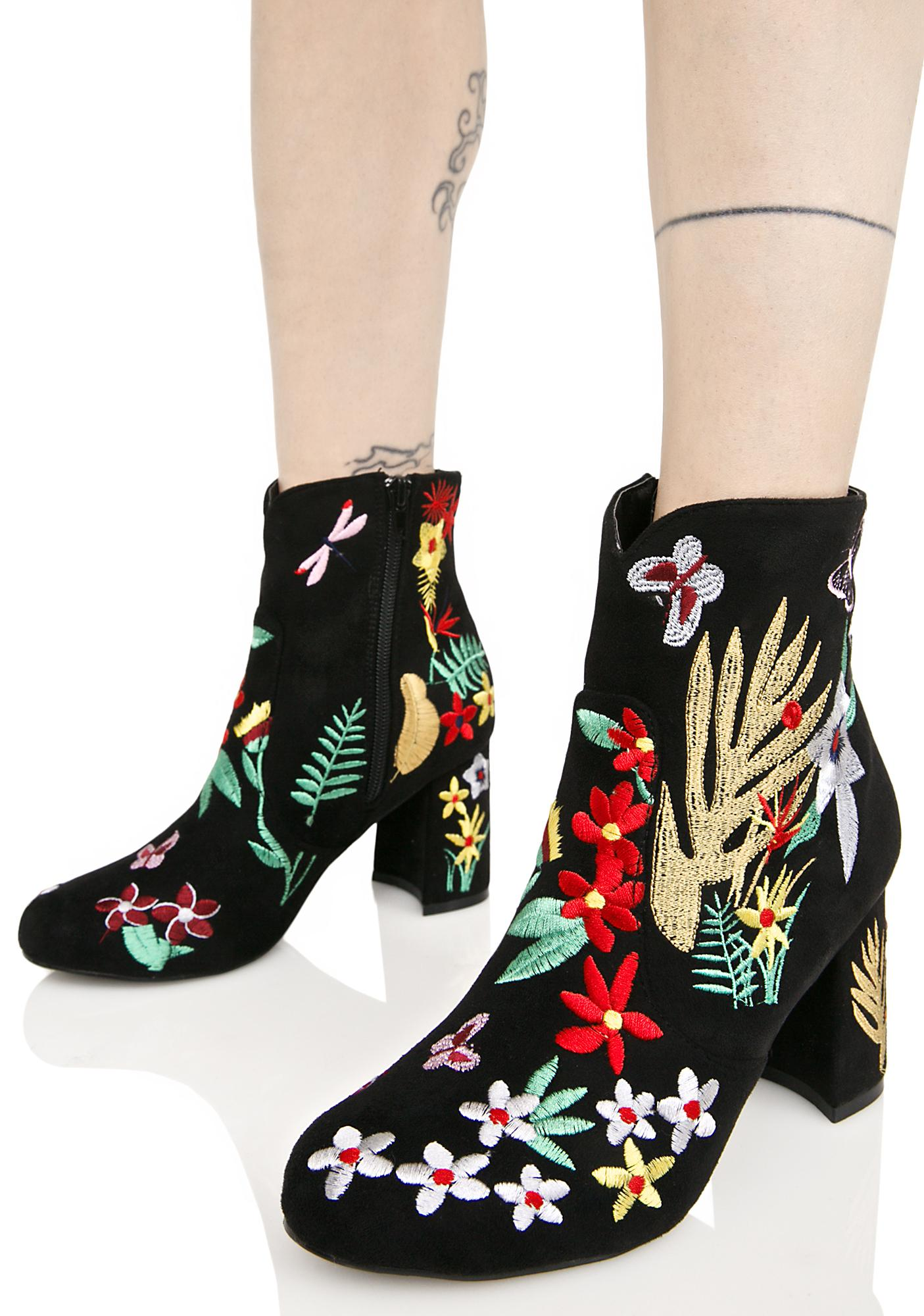 Forget Me Not Embroidered Boots