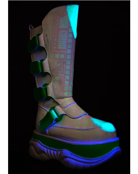Circuit Board UV Reactive Platform Boots