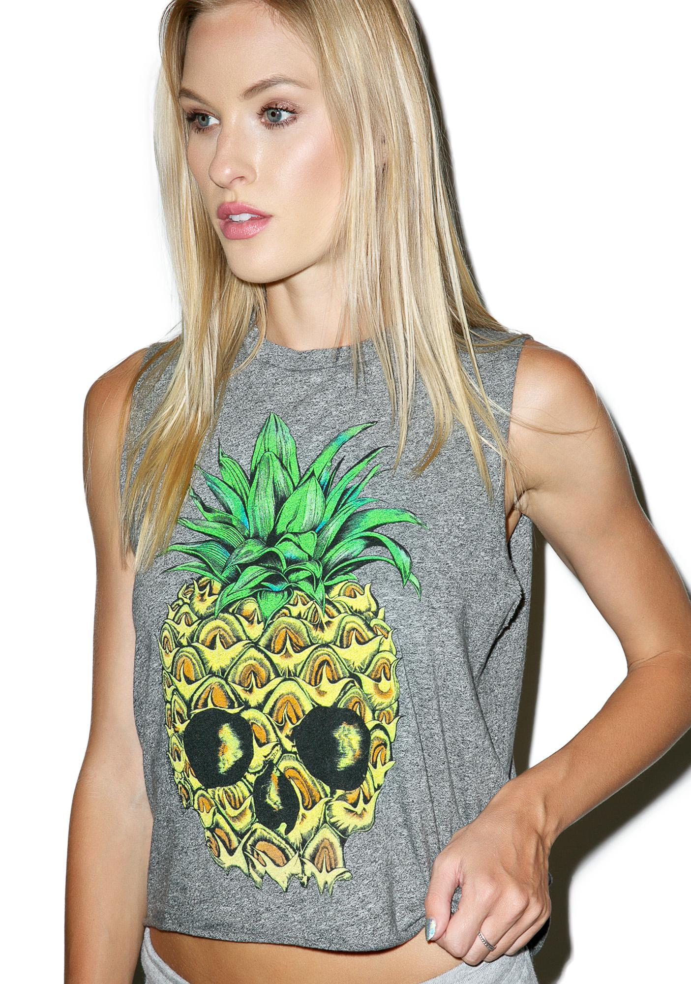 Lauren Moshi Kinzington Pineapple Skull Vintage Crop Muscle Tank