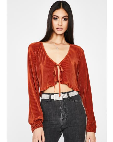 Hot Class Act Pleated Top