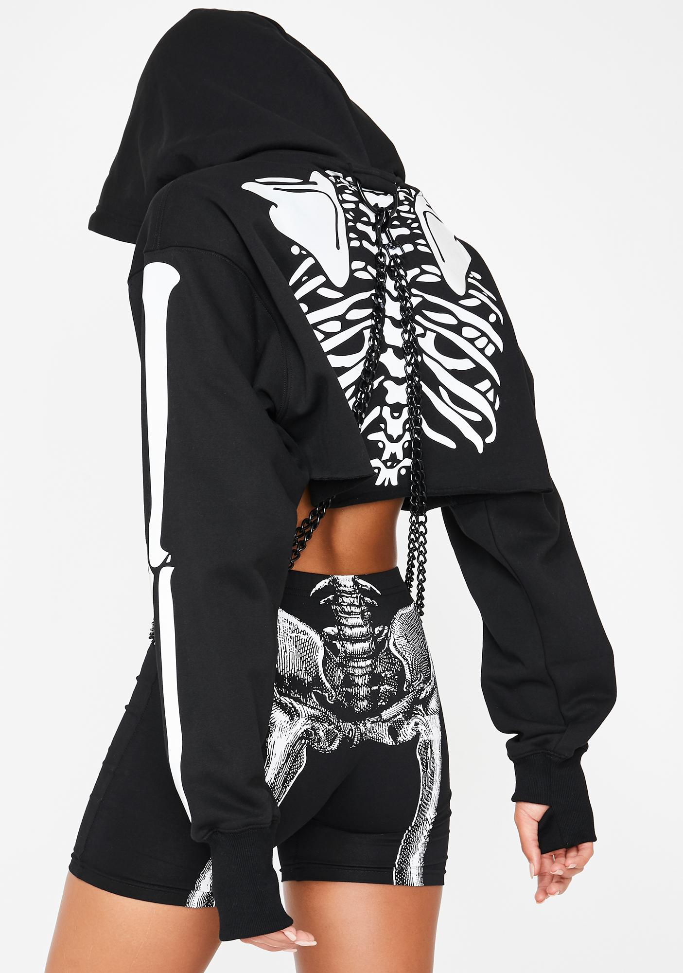 Dolls Kill Flesh N' Bones Reflective Hoodie