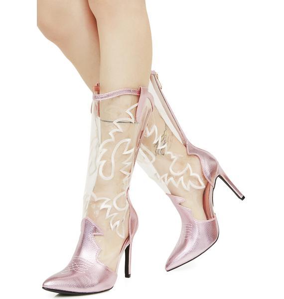 Blush Nashville Dolly Transparent Cowboy Boots