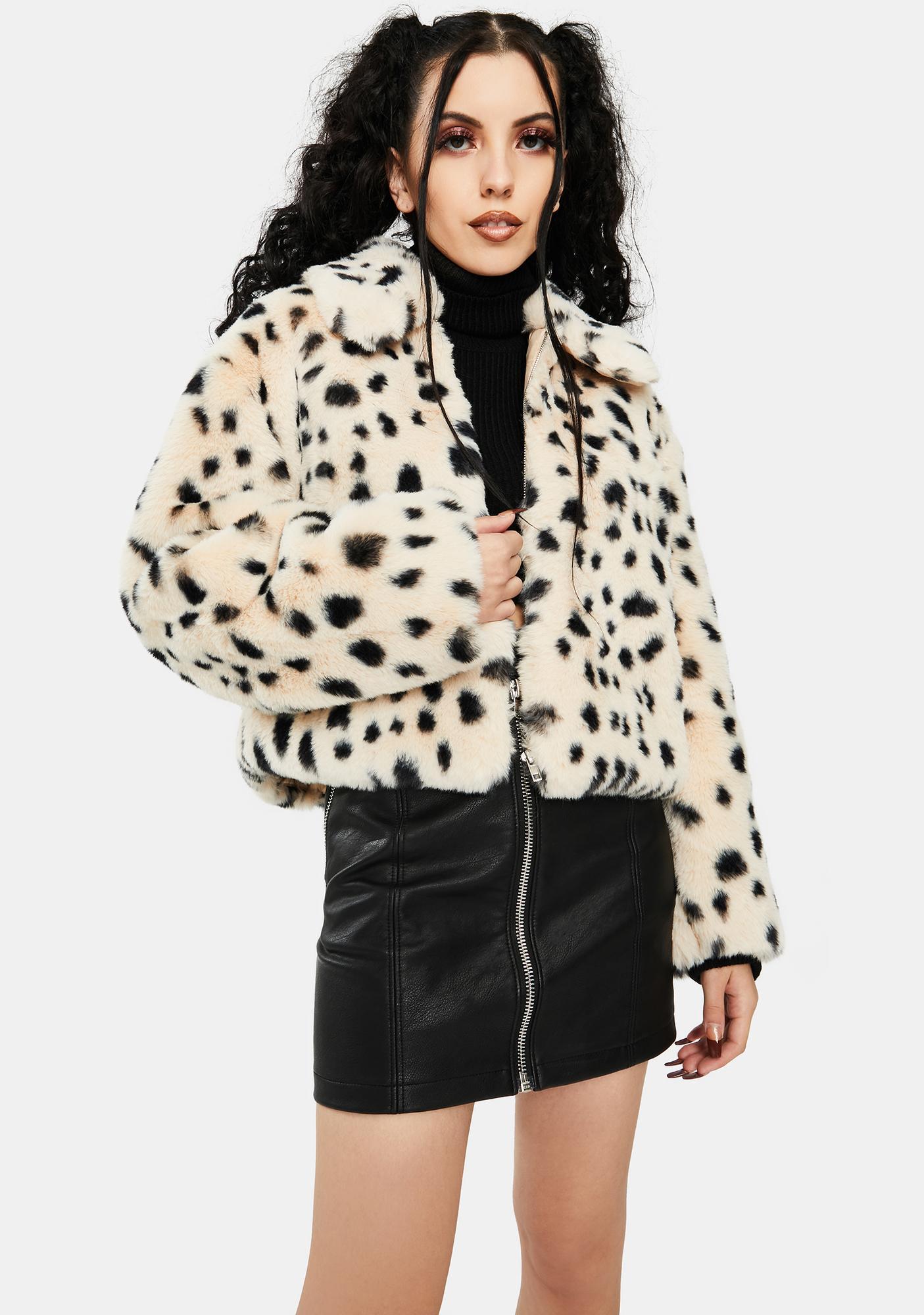 Re Named Snow Leopard Faux Fur Bomber
