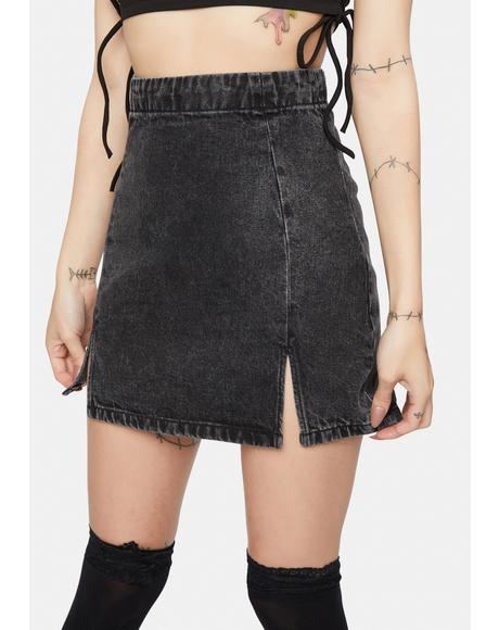 Denim Notched Mini Skirt