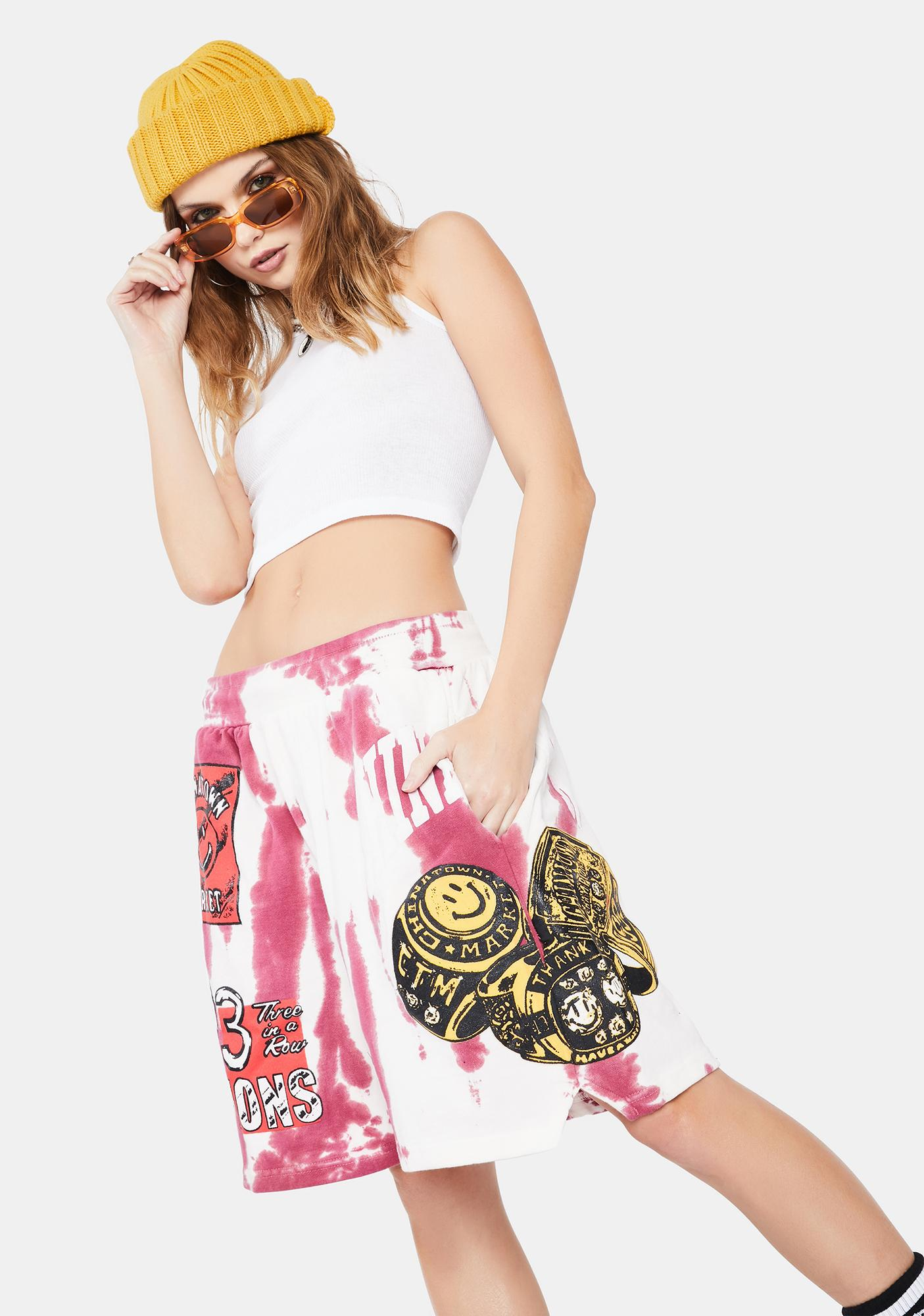 CHINATOWN MARKET Cherry Smiley Champion 3 Rings Shorts