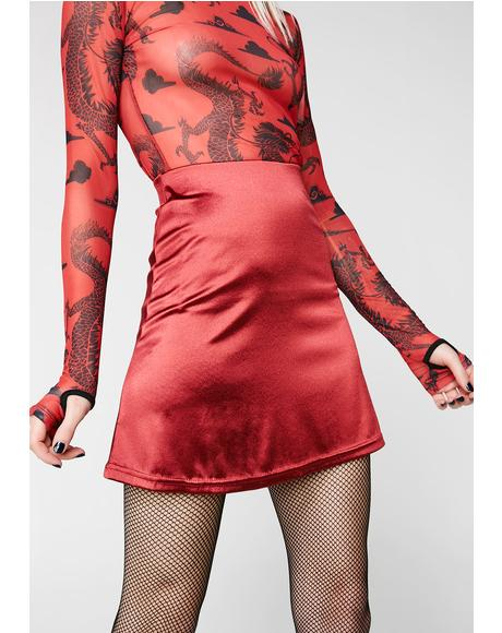 X Internet Girl Crimson Software Satin Mini Skirt