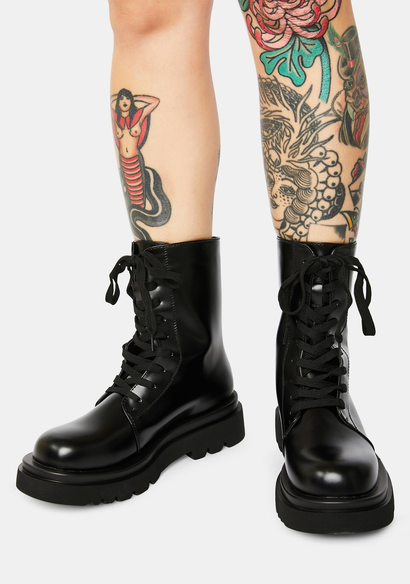 Midnight The Takedown Lace-Up Combat Boots
