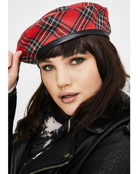 A-List Star Student Plaid Beret