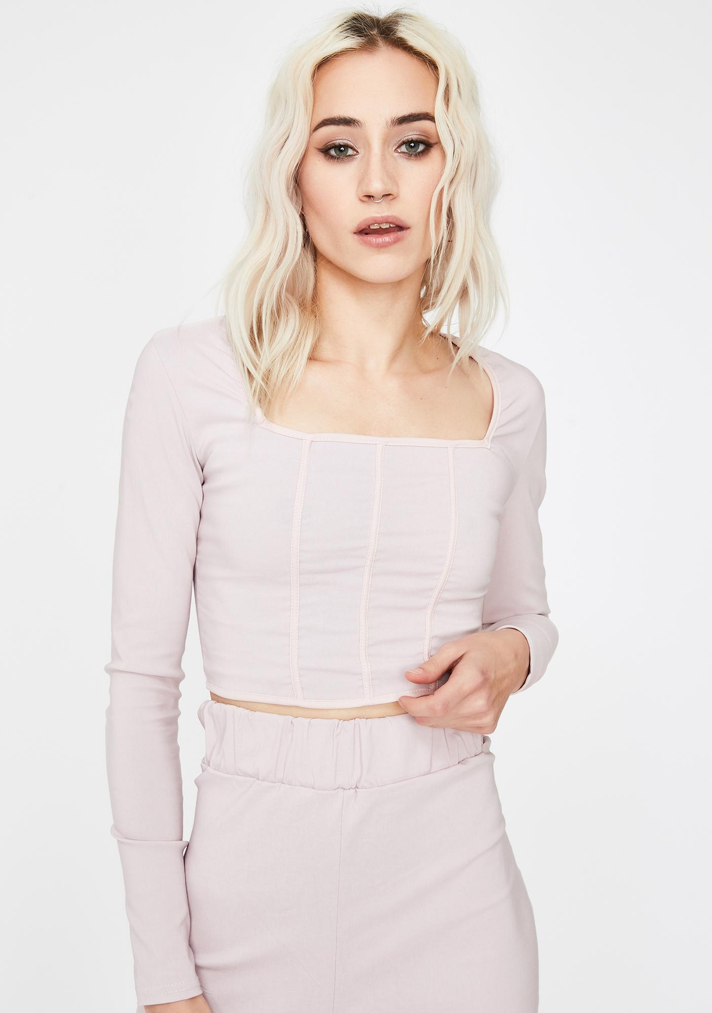 NEW GIRL ORDER Long Sleeve Corset Crop Top
