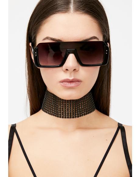 Sinister Cut Off Oversized Sunglasses