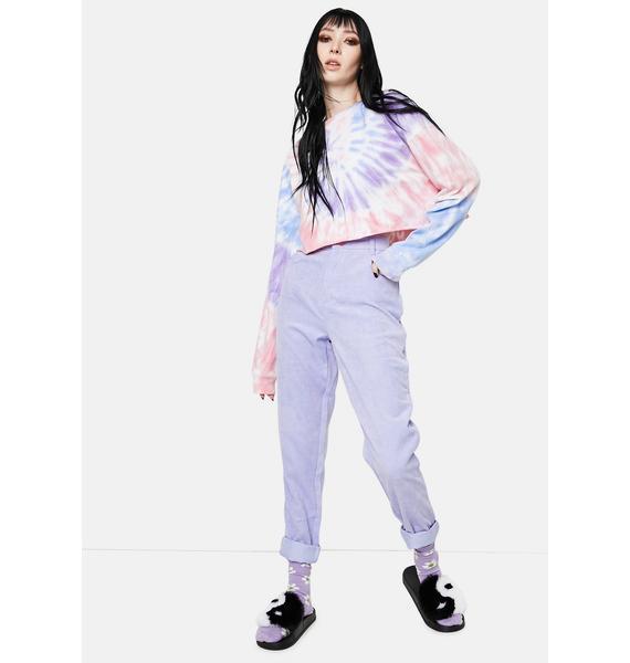 Daisy Street Purple Corduroy Mom Jeans