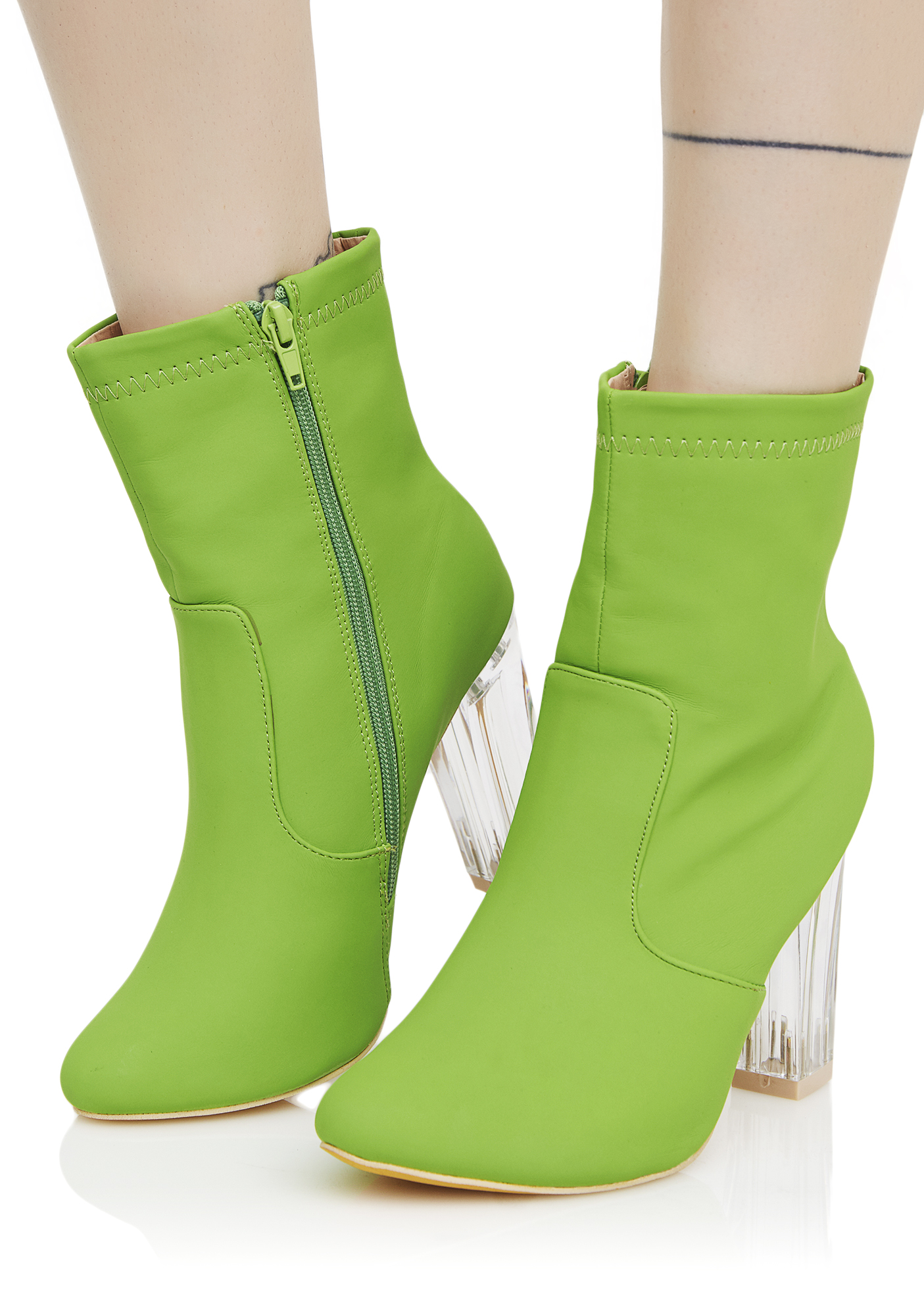 Ankle Boots Lucite Heel Lime Green