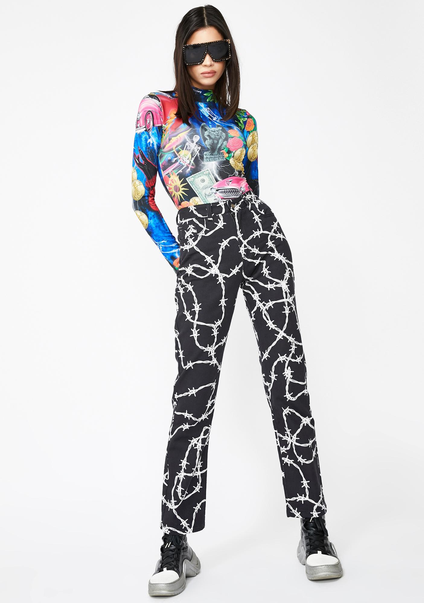 Jaded London Retro 80s Collage Print Bodysuit