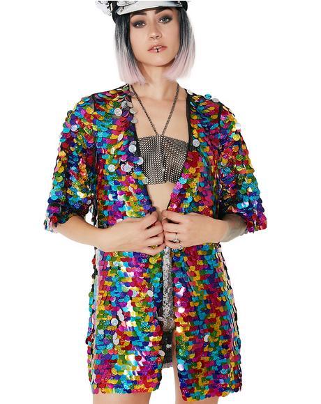 Rainbow Rager Sequin Kimono