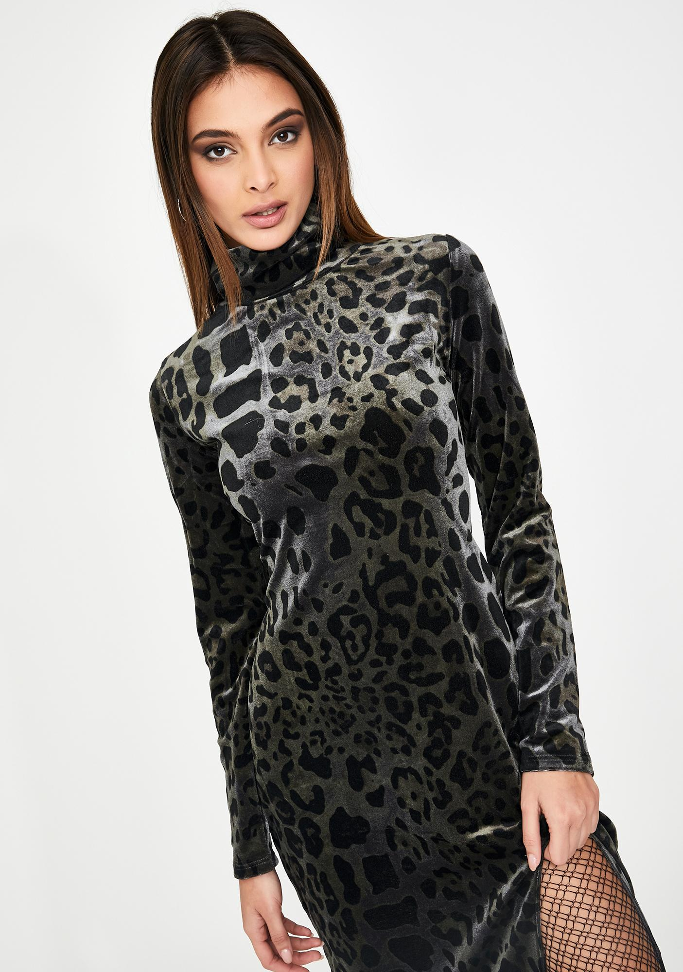 Glamorous Grey Leopard Slim Midi Dress