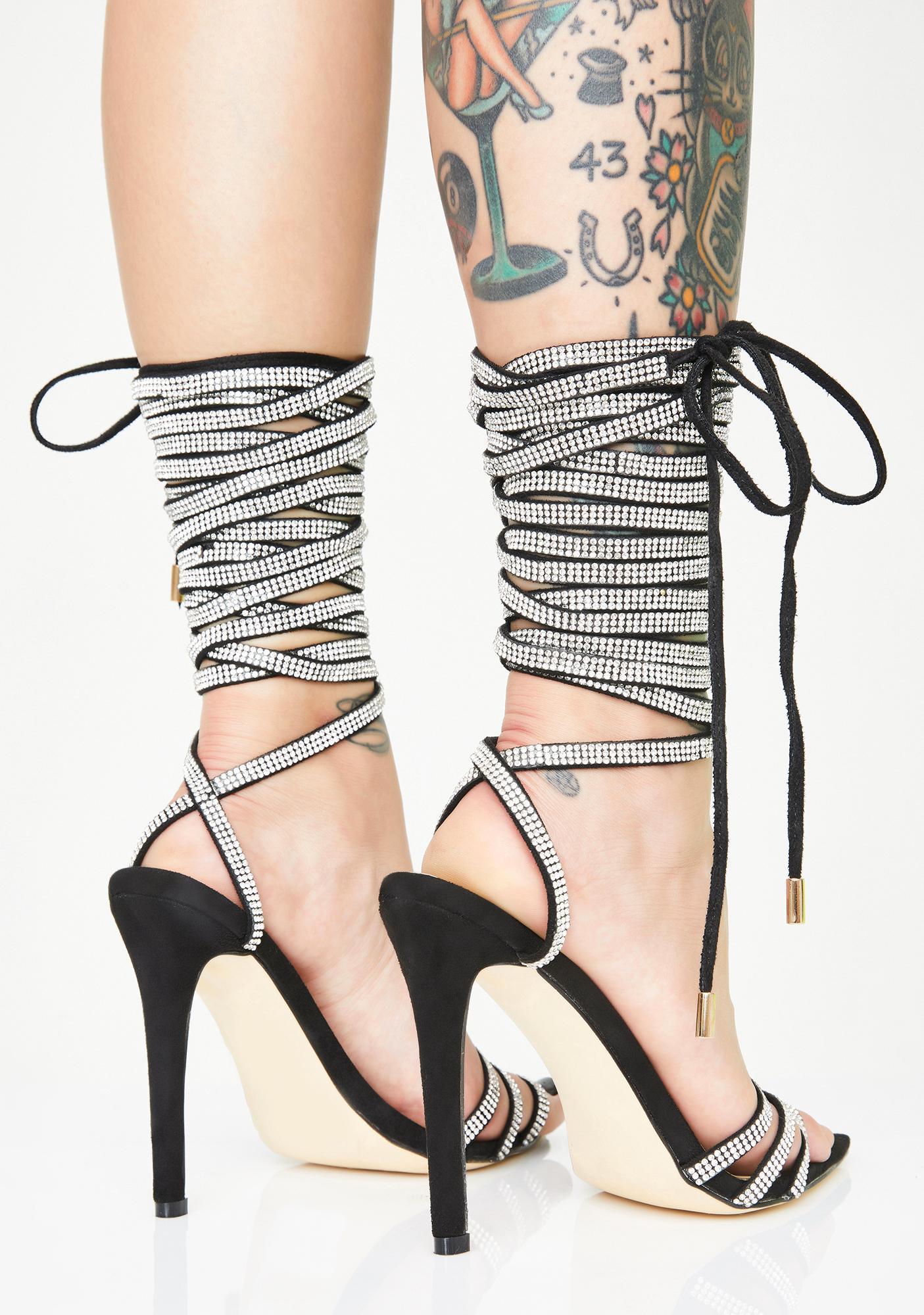 AZALEA WANG Knee High Rhinestone Heels