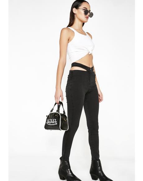 Paneled Waist Skinny Jeans