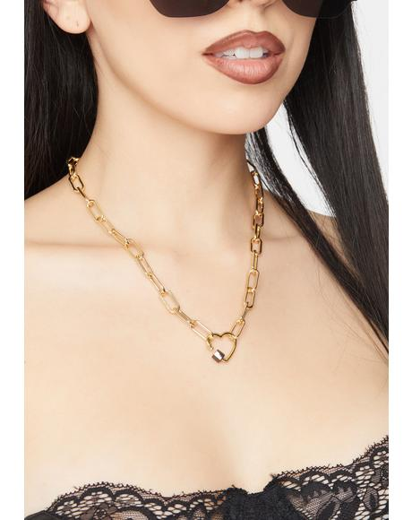 Lock My Heart Down Chain Necklace