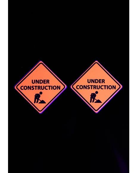 Orange UV Under Construction Sign Pasties