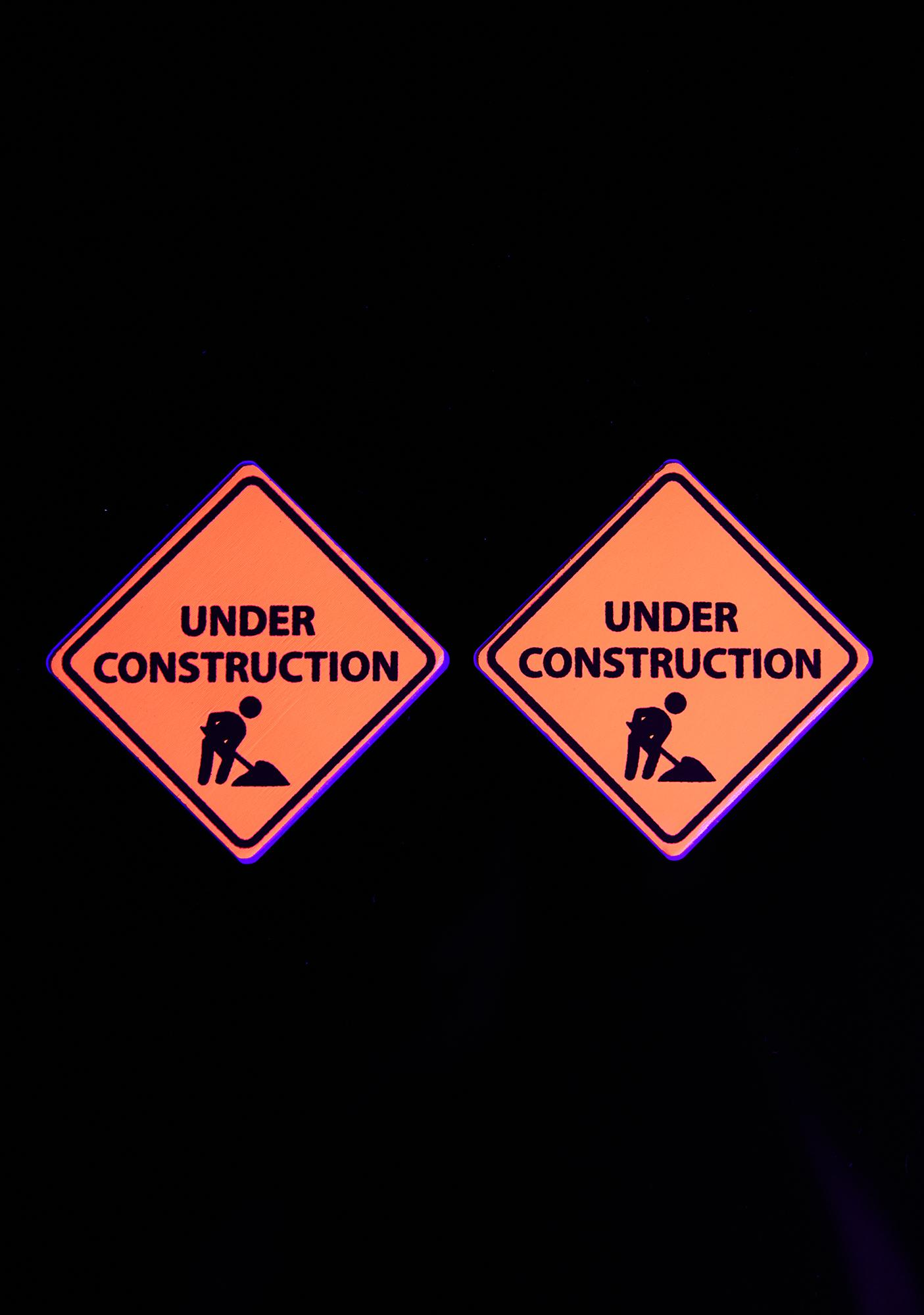 Neva Nude Orange UV Under Construction Sign Pasties