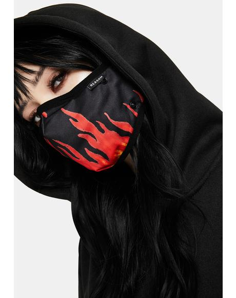 Flame Removable Face Mask Hoodie