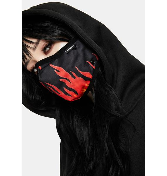 Reason Flame Removable Face Mask Hoodie