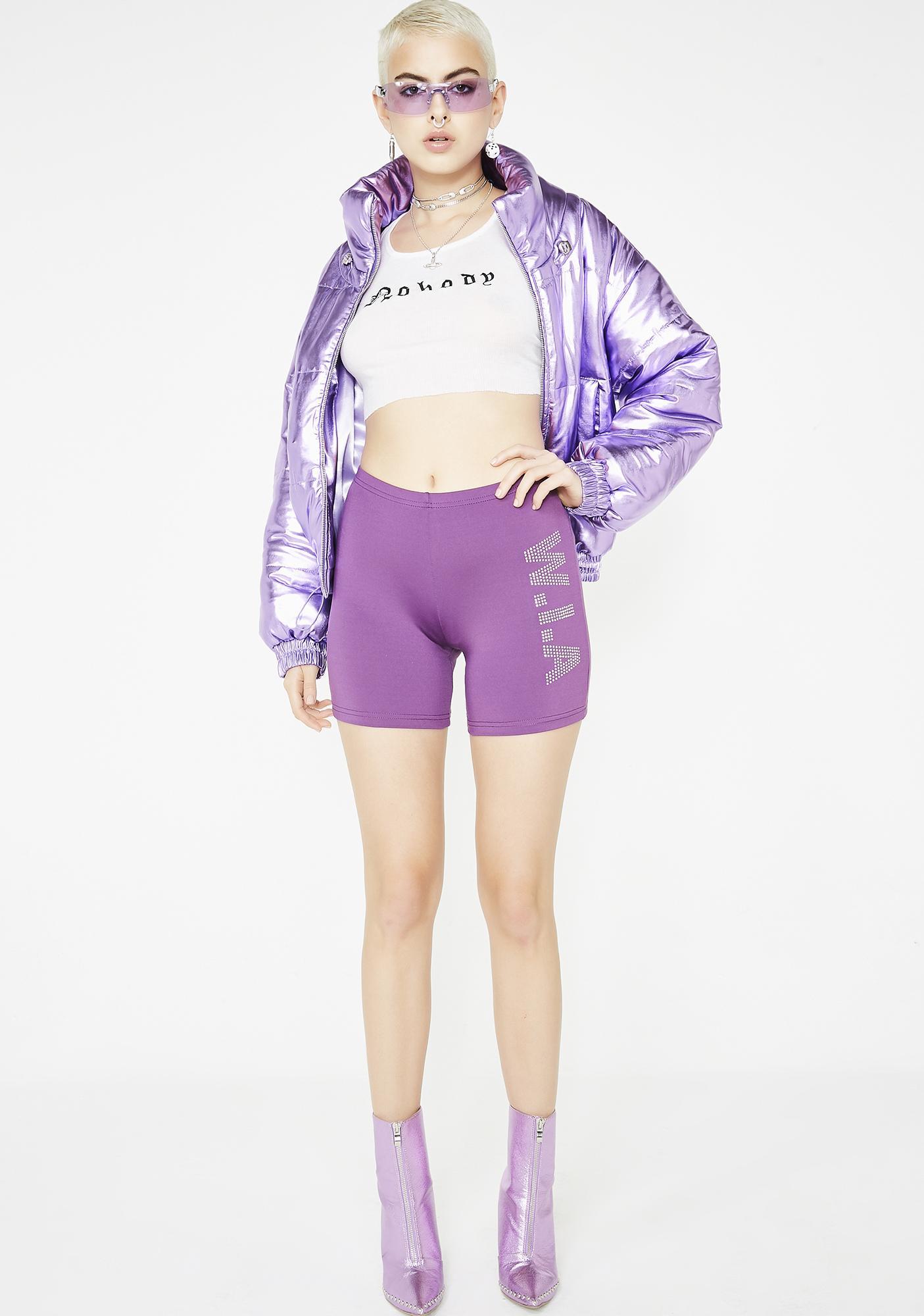 W.I.A Perturbed Grape Biker Shorts