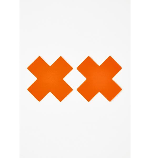 Pastease Neon Orange Cross Pasties