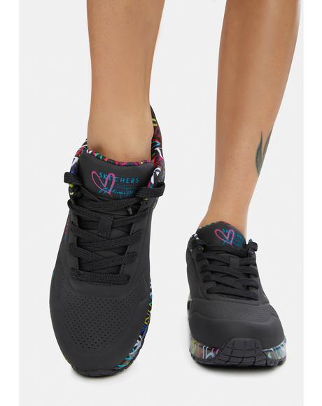 x JGoldcrown Black Loving Love Uno Sneakers