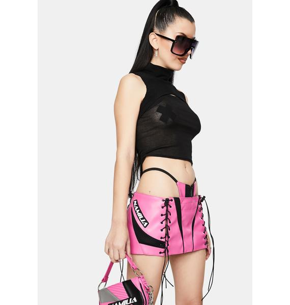Namilia Motocross Pink Lace-Up Micro Mini Skirt With Detachable Panty