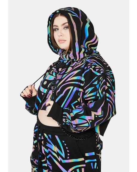 Divine Moon Labyrinth Reflective Chain Hoodie