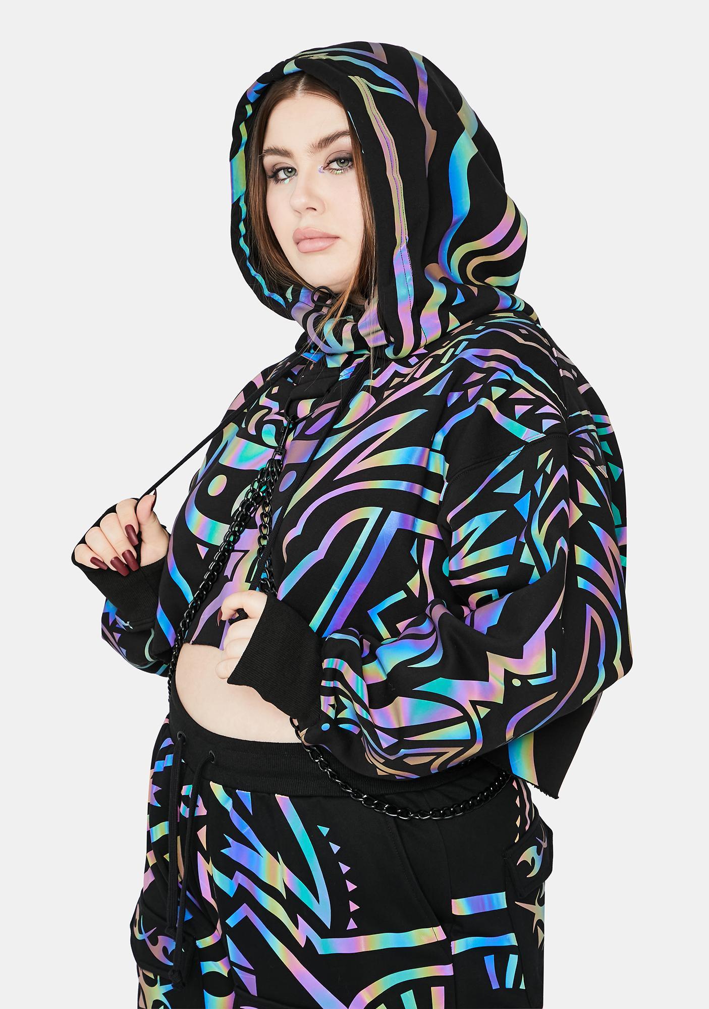 Club Exx Divine Moon Labyrinth Reflective Chain Hoodie