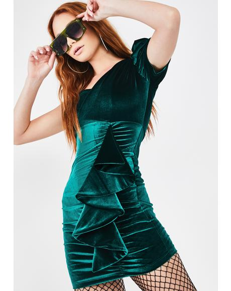 Emerald Diva Doll Velvet Dress