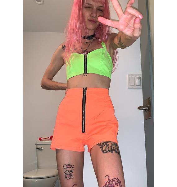 Tripp NYC Neon Orange Zip Up Shorts