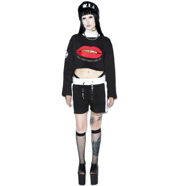 W.I.A Lips Cropped Sweater
