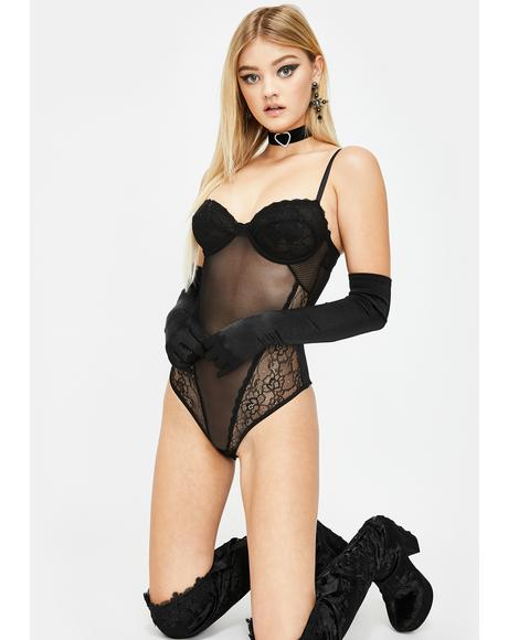 Noir Love Game Sheer Bodysuit