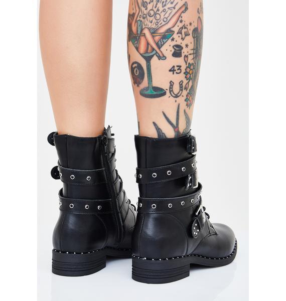 Dark Major Stud Combat Boots