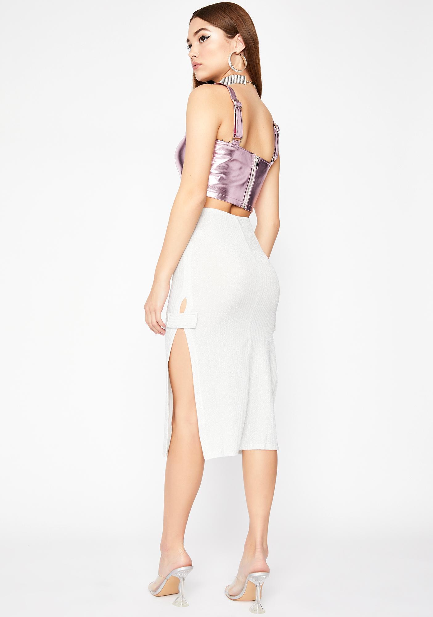 Chrome Kiss My Glam Midi Skirt
