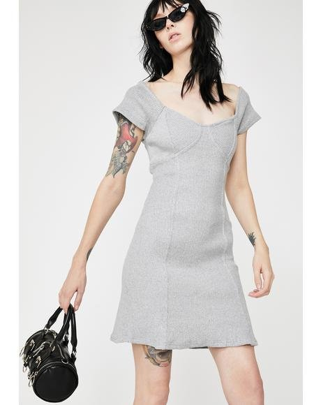 Chunky Rib Grey Marl Mini Dress
