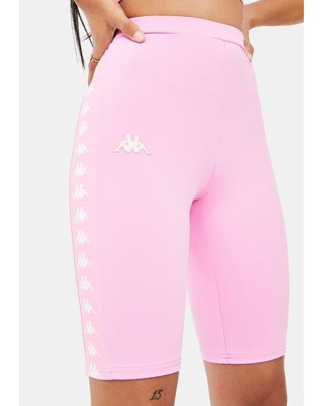 Pink White 222 Banda Cicles Biker Shorts