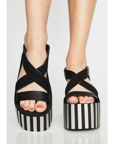 Stripe Bayer Platform Sandals