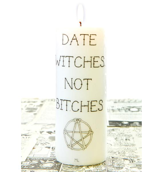 Date Witches Tall Candle