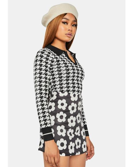 Dark So True Bestie Houndstooth Collared Sweater