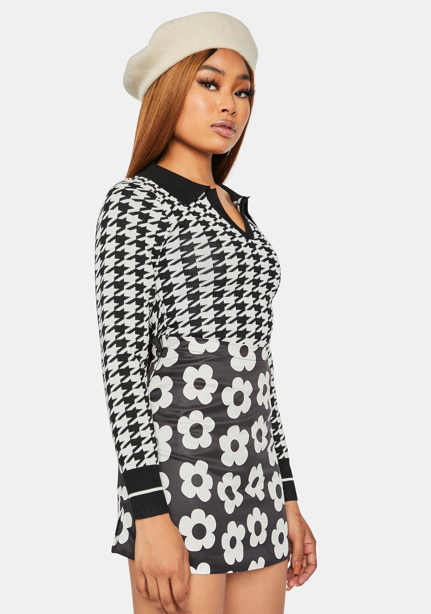 Dark So True Bestie Houndstooth Collared Sweater