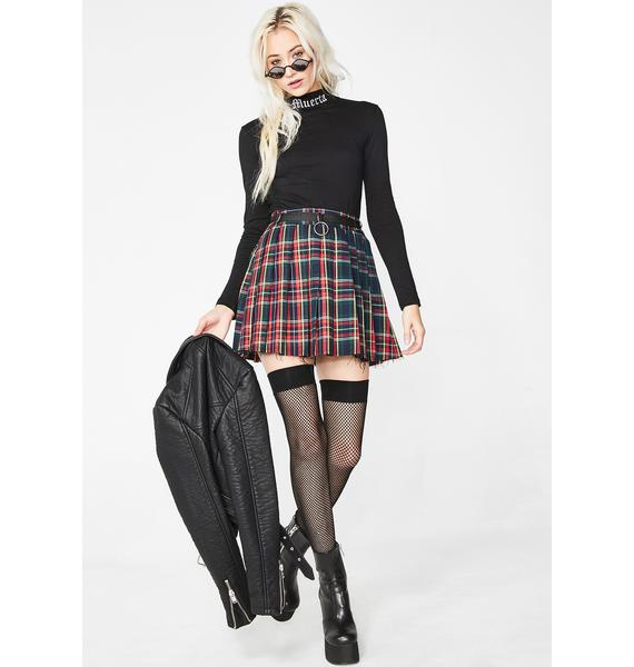 Current Mood Crimson Dress Code Plaid Skirt