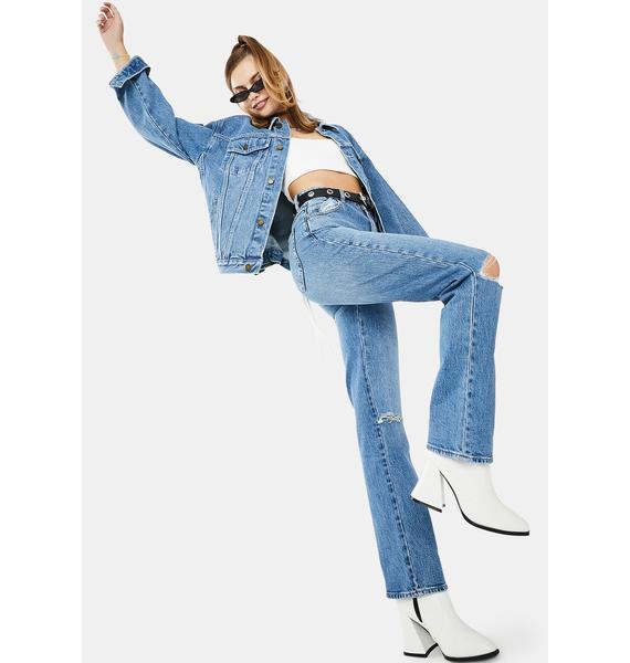 Rollas Brad Blue Original Straight Ripped Jeans